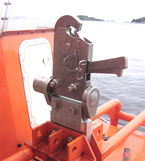 Hook placed in boat